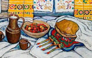 «Сельский завтрак», Адия Ситдикова, 1998, холст, масло. Фонд БГХМ им. М.В. Нестерова