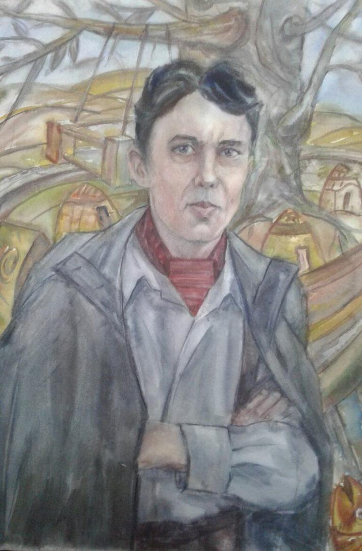 """""""Портрет художника Амира Мазитова"""", Альберт Кудаяров, бумага, акварель"""