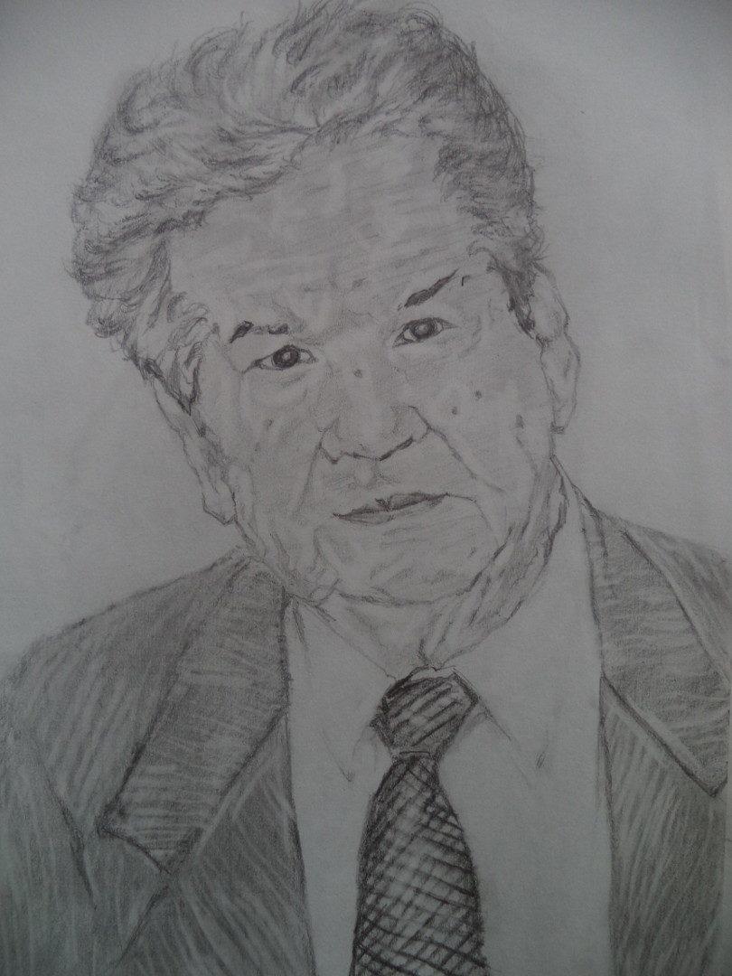 """Мустай Карим"", Гульсасяк Ибрагимова, бумага, карандаш"