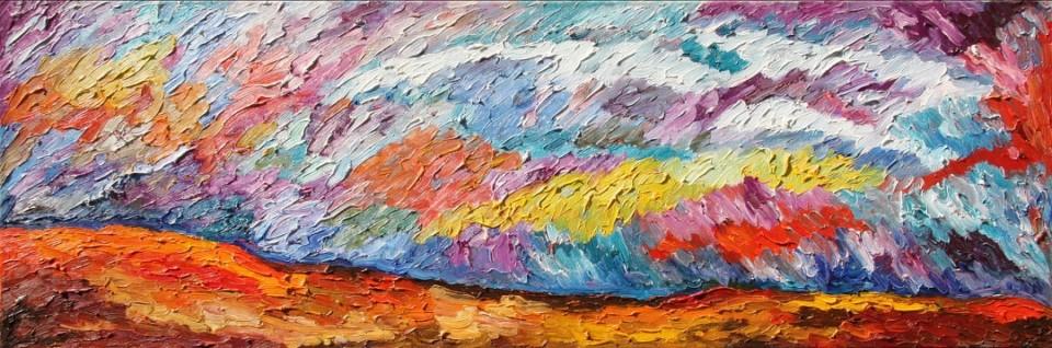 «Небо», левая часть диптиха, Рената Малютина, 2008, холст, масло, 40х120