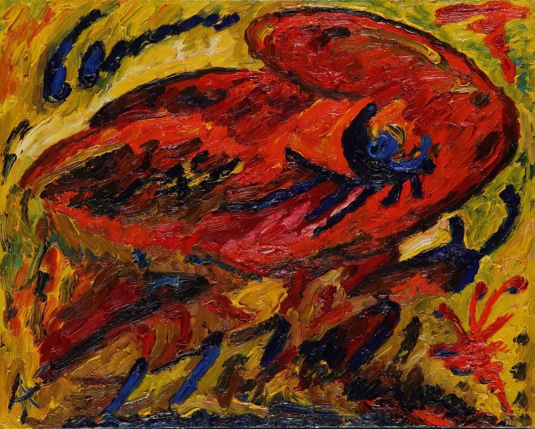 «Бабочка», левая часть диптиха, Рената Малютина, 2008, холст, масло, 40х50, серия «Метаморфозы»