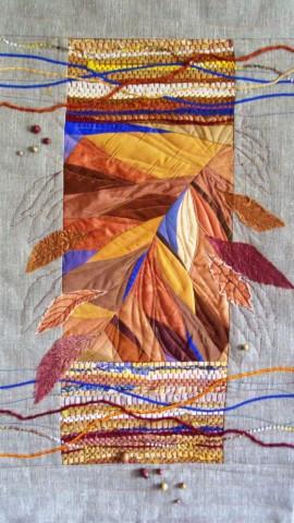 «Сентябрьский набросок», Стелла Маркова, 2013, текстиль, лоскутное шитье, ткачество, аппликация, стежка, 79х49