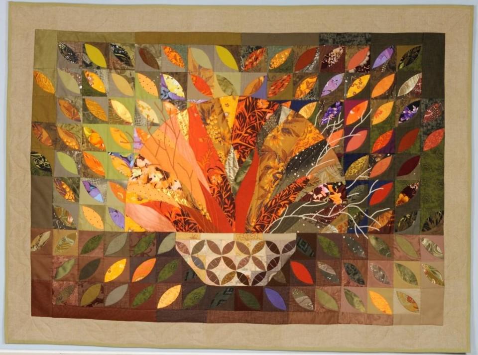 «Листья», Стелла Маркова, 2014, текстиль, лоскутное шитье, аппликация, стежка, 98х133