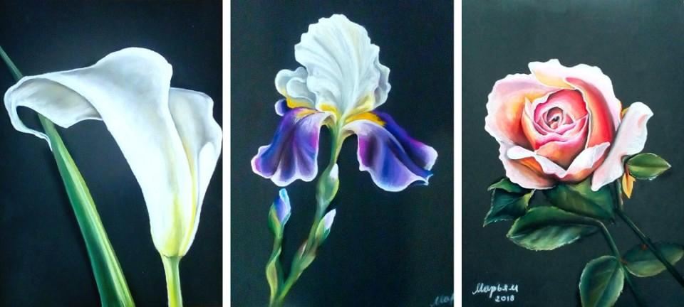 Триптих «Цветы», Марьям Целищева, 2018, наждачная бумага, пастель, 30х63