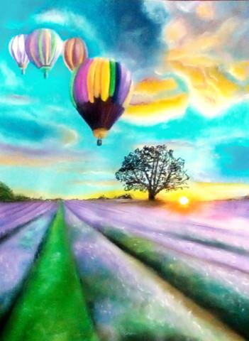 «Воздушные шары над лавандовым полем», Марьям Целищева, 2017, пастельная бумага, пастель, 40х30
