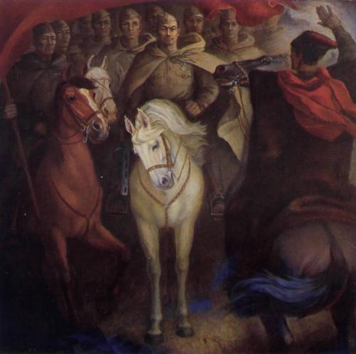 «Был рядовым на войне», центральная часть триптиха, Рашит Зайнетдинов, 1985, холст, масло, 170х170