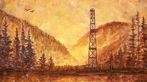 «Восточная Сибирь», Марсель Шайдуллин, 2018, холст, масло, нефть, 30х30