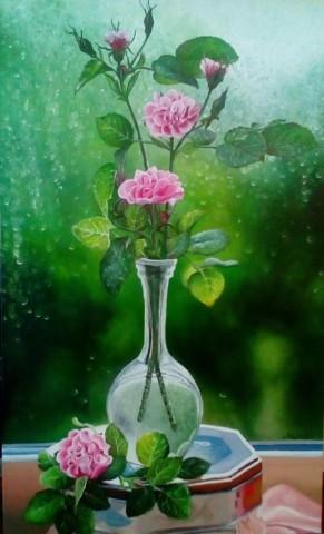 «Розы у окна в дождь», Марьям Целищева, 2017, холст, масло, 30х50
