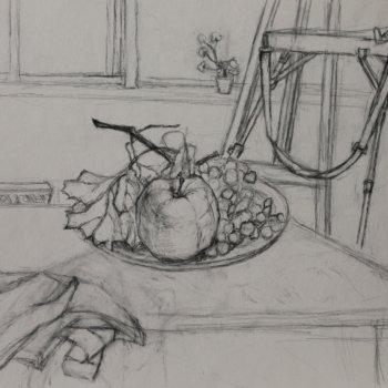 «Натюрморт с рябиной и яблоком», Рузиля Набиуллина