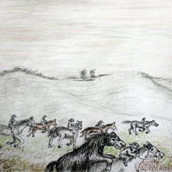 «Гон лошадей на пастбище», Габид Гималов