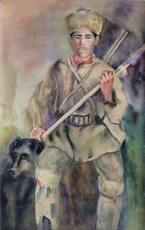 «Башкир - охотник на медведя», Касим Девлеткильдеев, 1928, бумага, акварель, 40,5х25,5