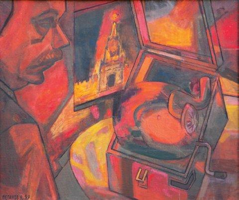 «Автопортрет с патефоном», Николай Пеганов, 1999, холст, масло