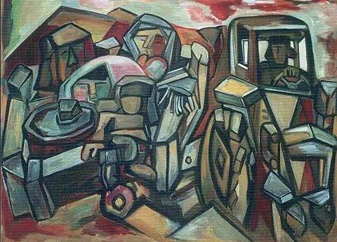 «На тракторе Беларусь» (варинант I), Михаил Назаров, 1969, холст, темпера