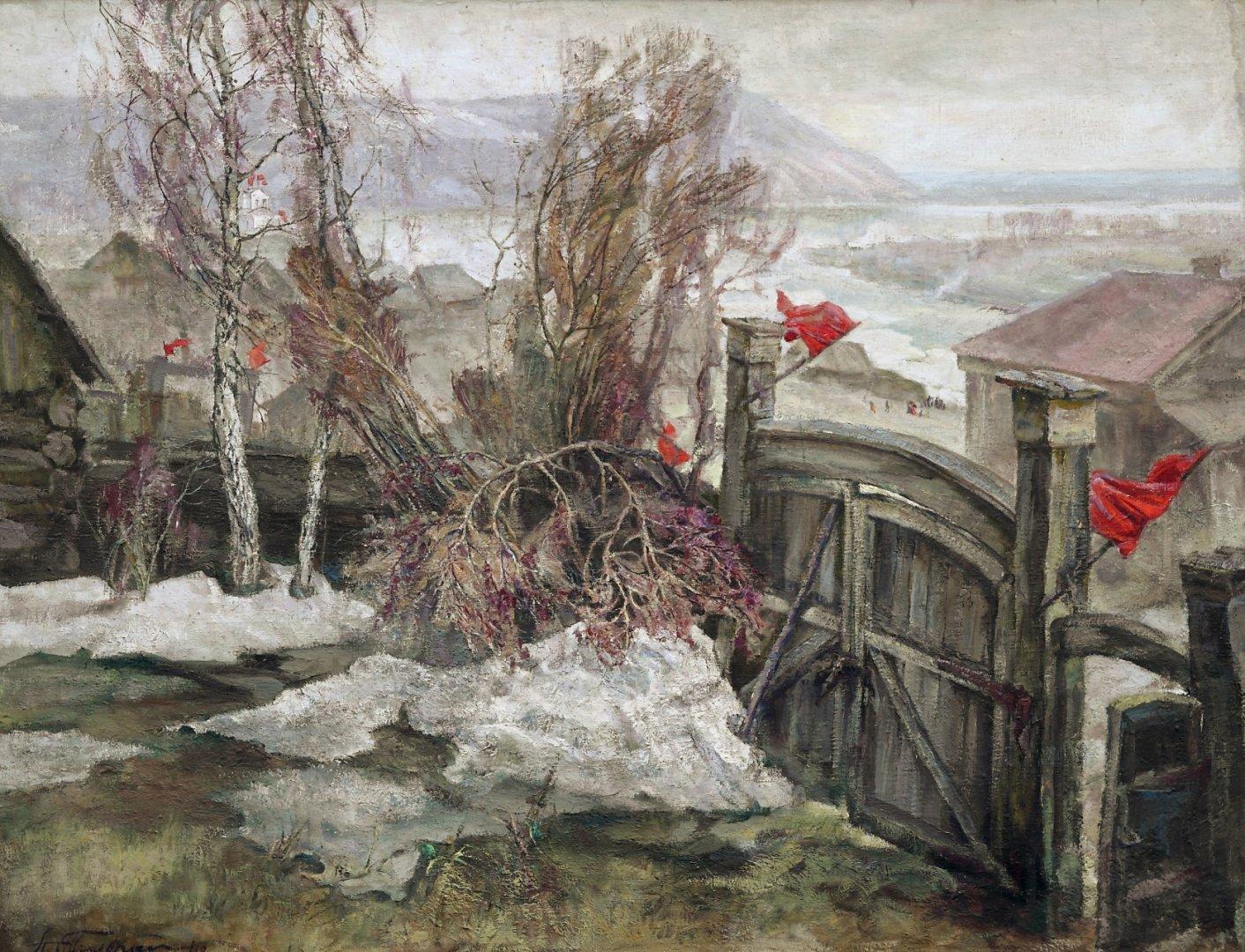 «Праздник на окраине», Александр Тюлькин (1888-1980), 1948, холст, темпера, 100х128