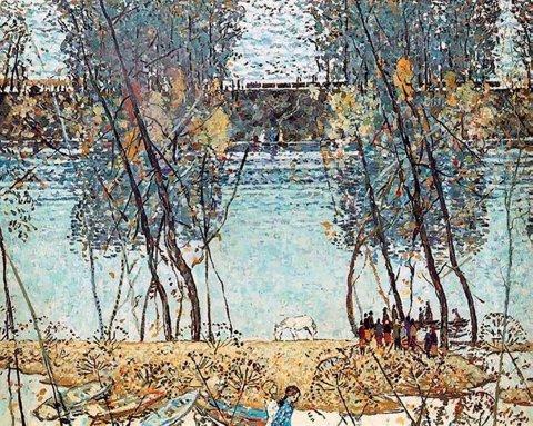 «Пейзаж с поездом», Борис Домашников (1924-2003), 1981, холст, масло