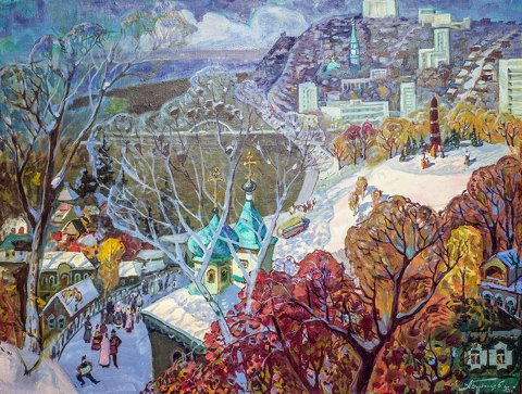 «Старая Уфа. Первый снег», Александр Бурзянцев (1928-1997), 1995, холст, масло