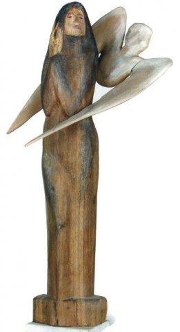 «Благовещение», Николай Калинушкин (1948-2004), 1996, дерево, роспись, мрамор