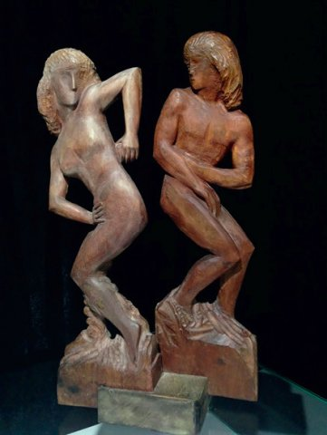 «Адам и Ева», Николай Калинушкин (1948-2004), 2003, дерево тонированное