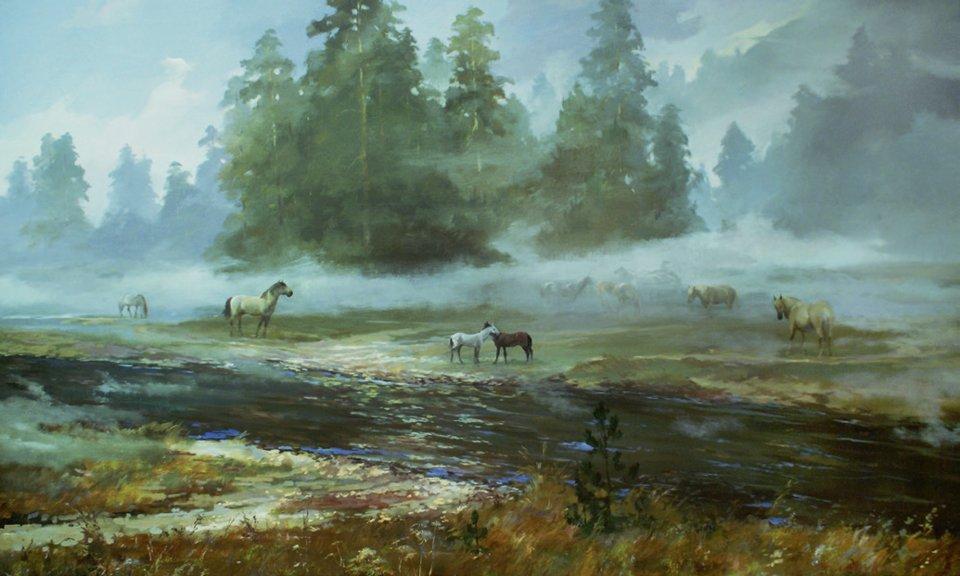 «Башкирские лошади», Финат Набиуллин, холст, масло
