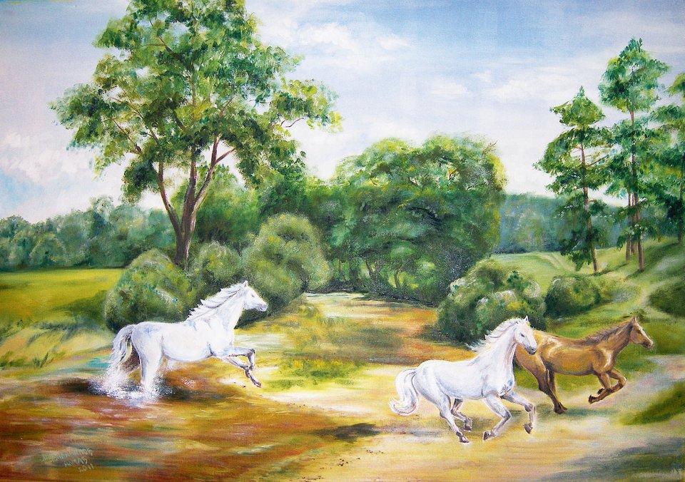 «Лошади», Алмаз Мурзакамалов, холст, масло