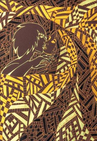 «Поцелуй Дементра», Анна Анпилогова, 2013, цветной картон, коллекционная гуашь, контур