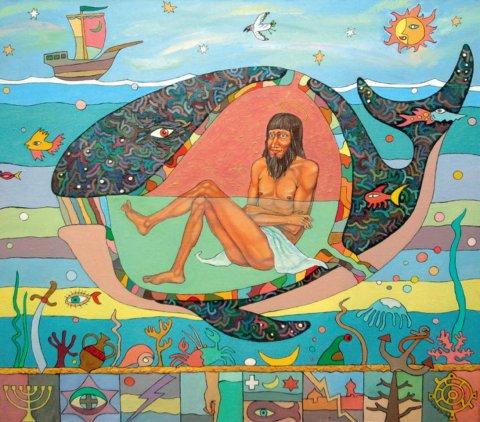 «Пророк Иона во чреве кита», Айдар Альметов, холст, масло