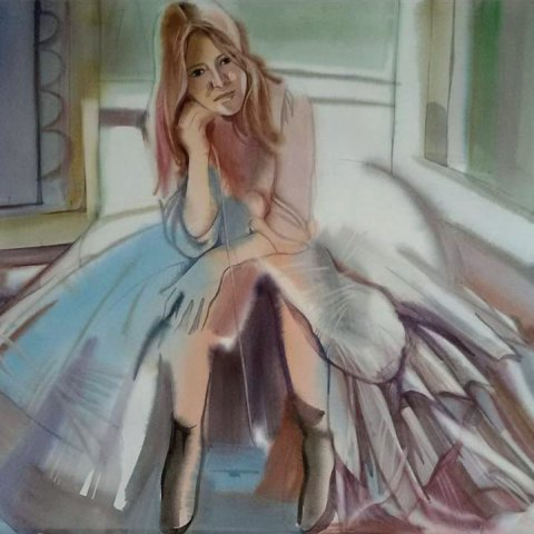 «В бальном платье», Ирина Гатина-Обрусник, акварель