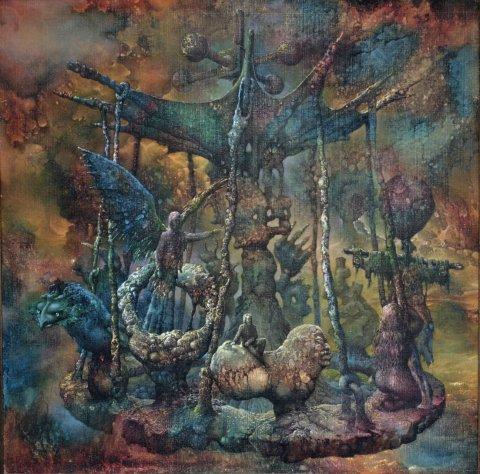 «Аттракцион», Александр Журкин, 1991, холст, картон, масло
