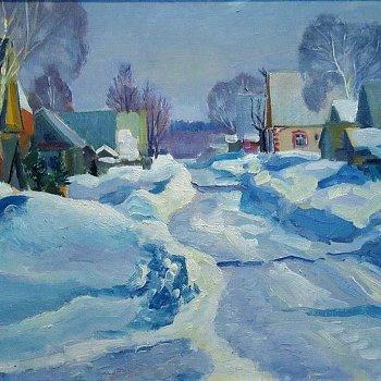 «Деревенская улица зимой», Михаил Кузнецов