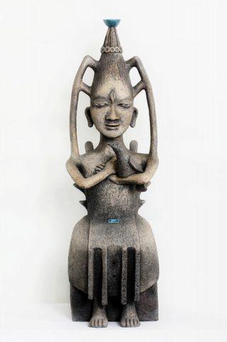 Скульптура «Правитель» (коллекция «Архаика»), Ляля Галеева, 2003, шамот, тонировка