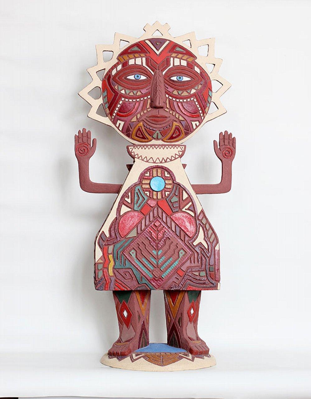 Скульптура «Eclipse» (Солнечное затмение), коллекция «Метафизическая», Ляля Галеева, шамот, ангобы, акрил