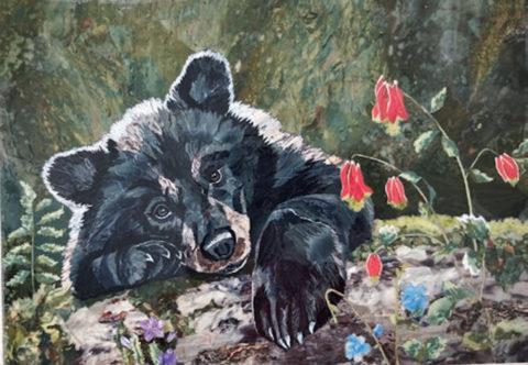 «Медвежонок», Надежда Бесклеткина, 2020, флорентийская мозаика (яшма, лазурит, чароит)