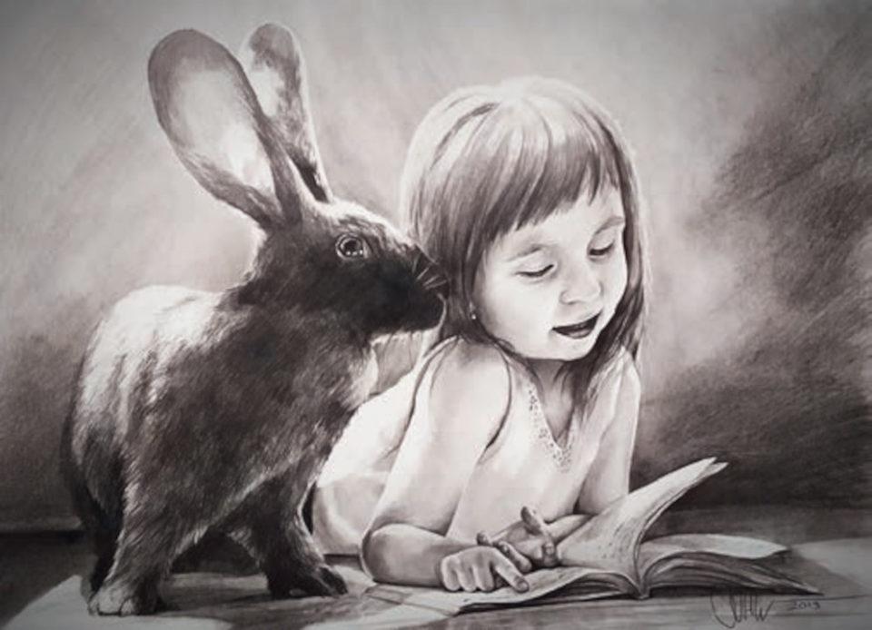 «Портрет дочки с зайкой», Алмаз Шагалиев, 2019, карандаш, бумага