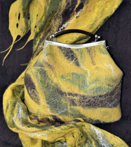 Комплект (сумка, шарф) «Осенний вечер», Галина Терентьева, 2019