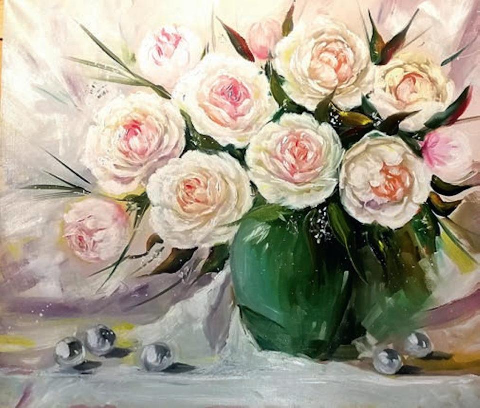 «Букет белых пионов», Эльвира Камалетдинова-Шангареева, 2019, холст, масло