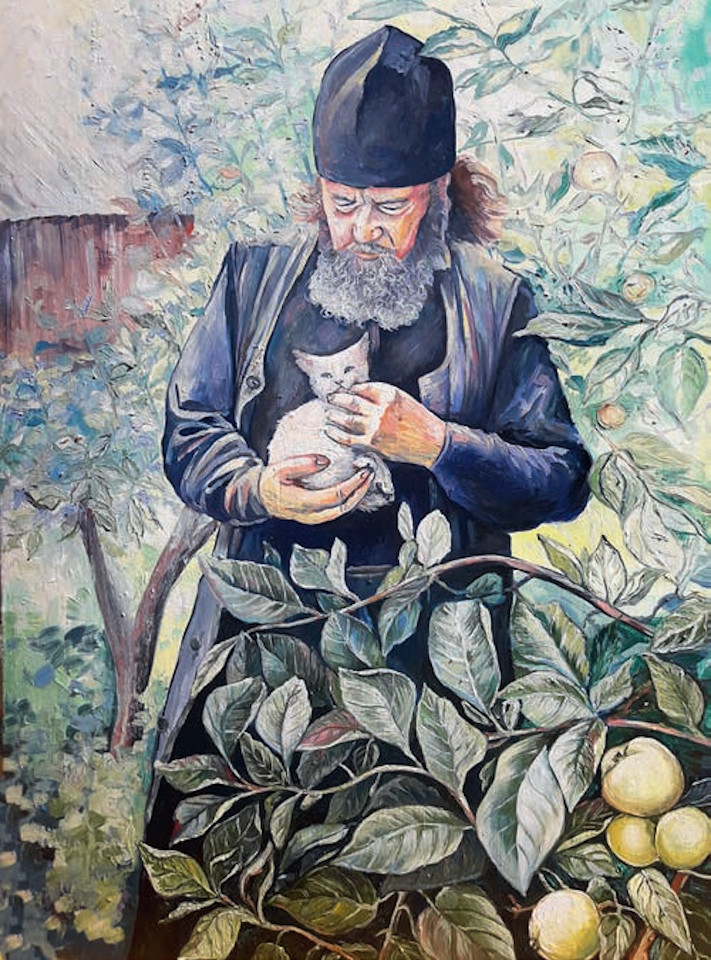 «Монах», Вера Шаригина, 2019, картон, масло