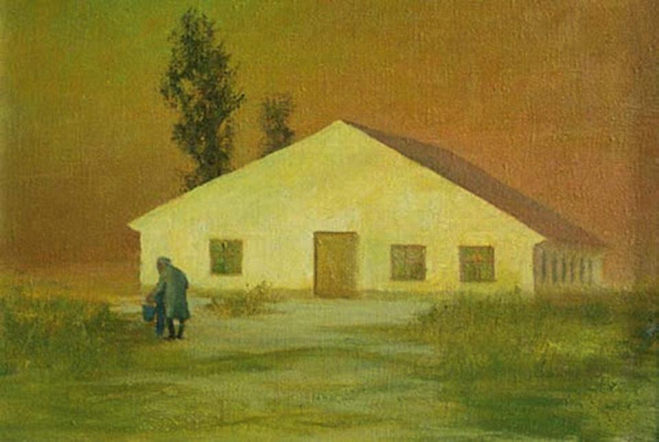 «Барачная ностальгия», Михаил Спиридонов, 1990, холст, масло