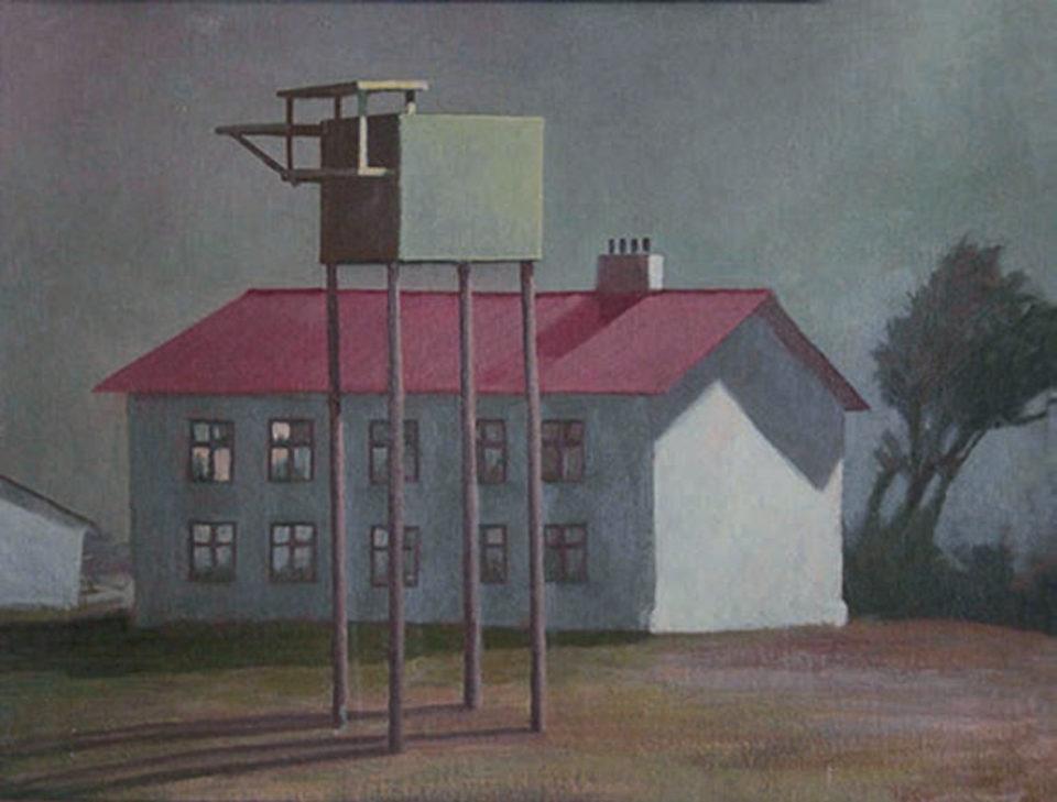 «Двор с голубятней», Михаил Спиридонов, 1988, холст, масло